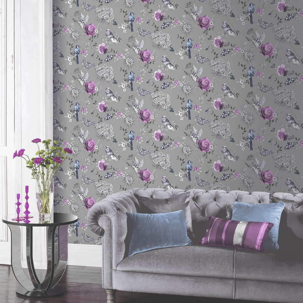 Paradise Garden Wallpaper - Silver - by Arthouse