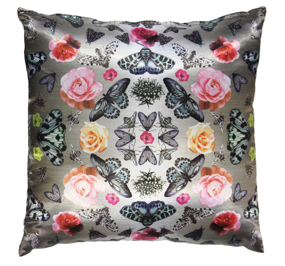 Floral Bugs Cushion - Silver - by Arthouse