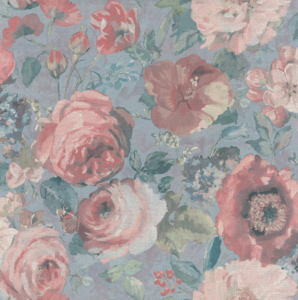 Albany Barbara Floral Pale Blue and Pink Wallpaper - Product code: 527858