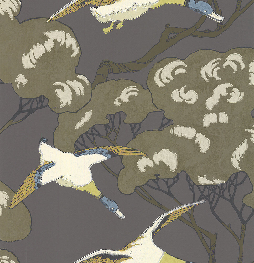 Mulberry Home Flying Ducks Charcoal Wallpaper main image