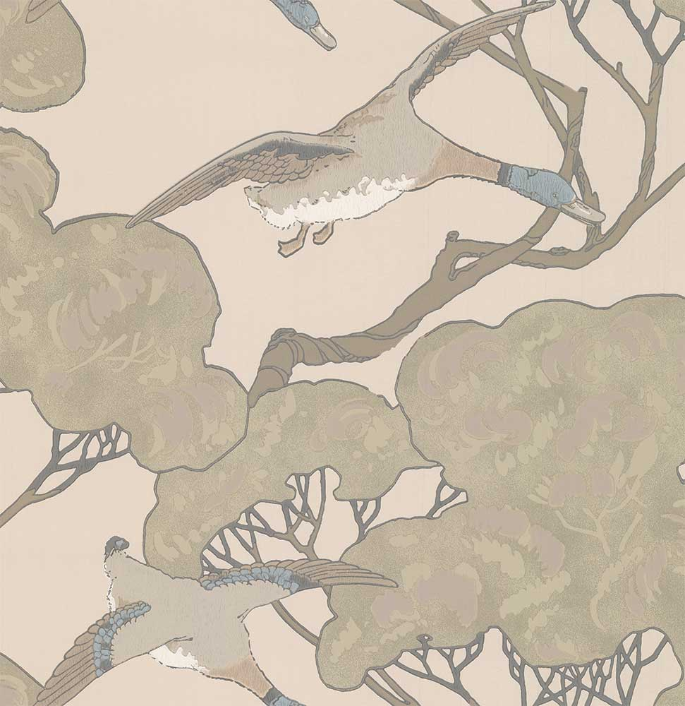 Mulberry Home Flying Ducks Taupe Wallpaper - Product code: FG090J80