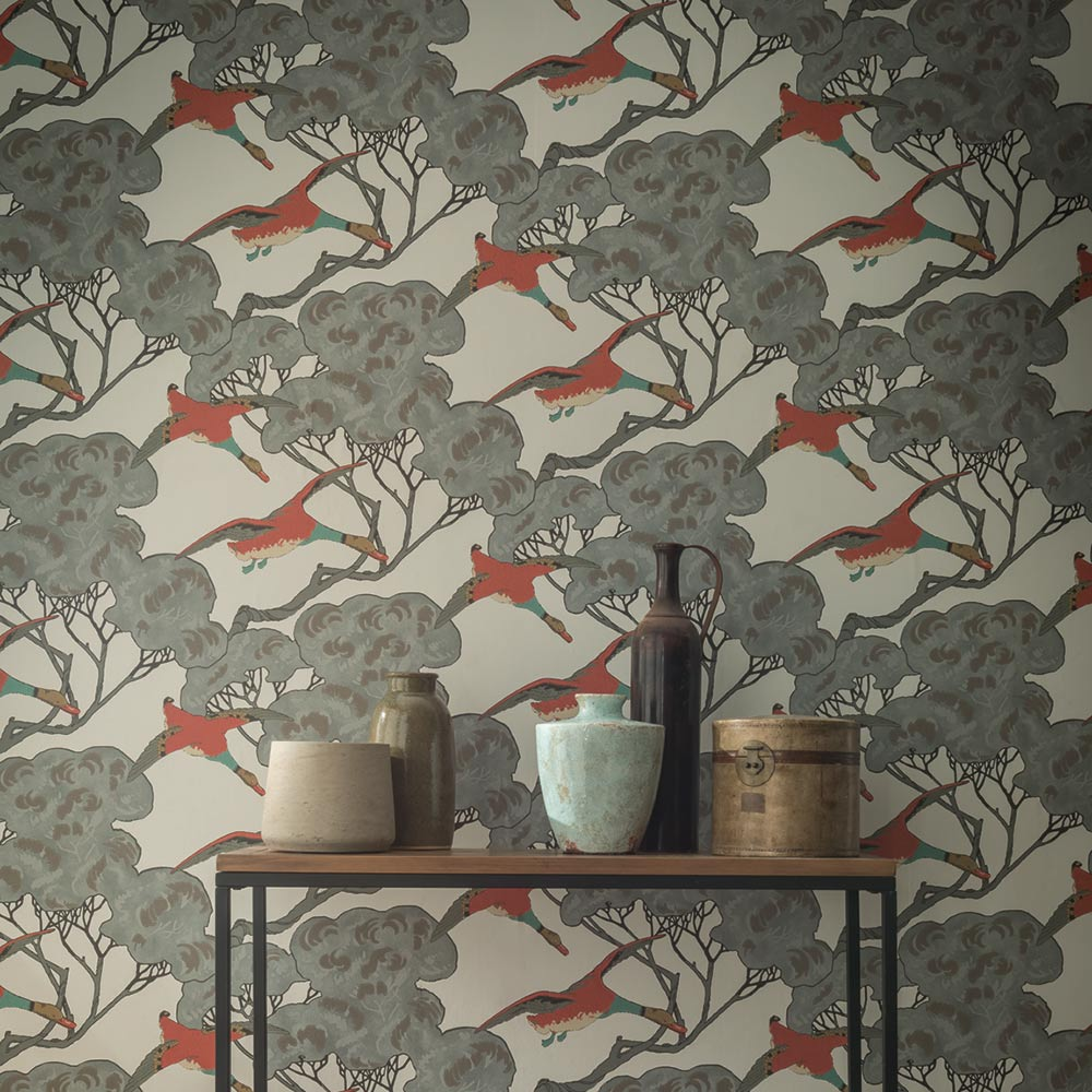 Mulberry Home Flying Ducks Coral Wallpaper - Product code: FG090J87
