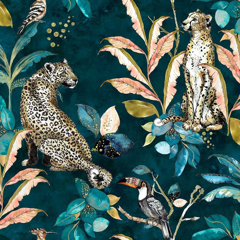 Graduate Collection Cheetah Teal Wallpaper - Product code: LH1CHEWALTEA