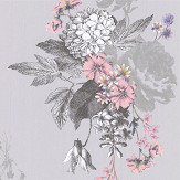 Oasis Botanical Bouquet Grey Wallpaper - Product code: W0108/02