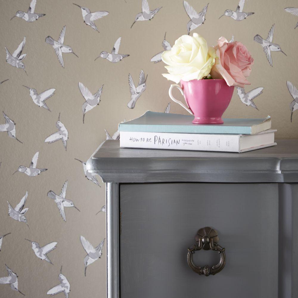 Hummingbird Wallpaper - Gold - by Oasis
