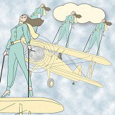 Art Decor Designs Deco Pilots Blue Wallpaper