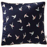Oasis Botanical Hummingbird Velvet Cushion Navy