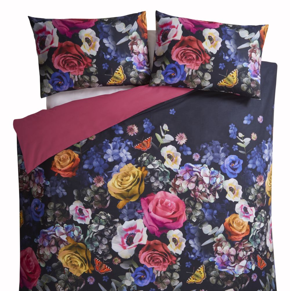 Florianna Duvet Set Duvet Cover - Deep Navy & Raspberry Pink - by Oasis