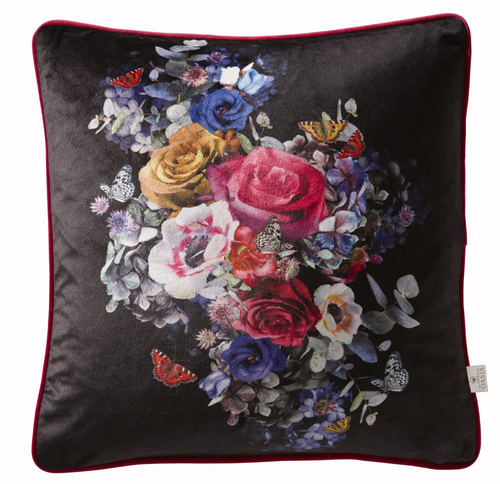 Florianna Velvet Cushion - Deep Ebony - by Oasis