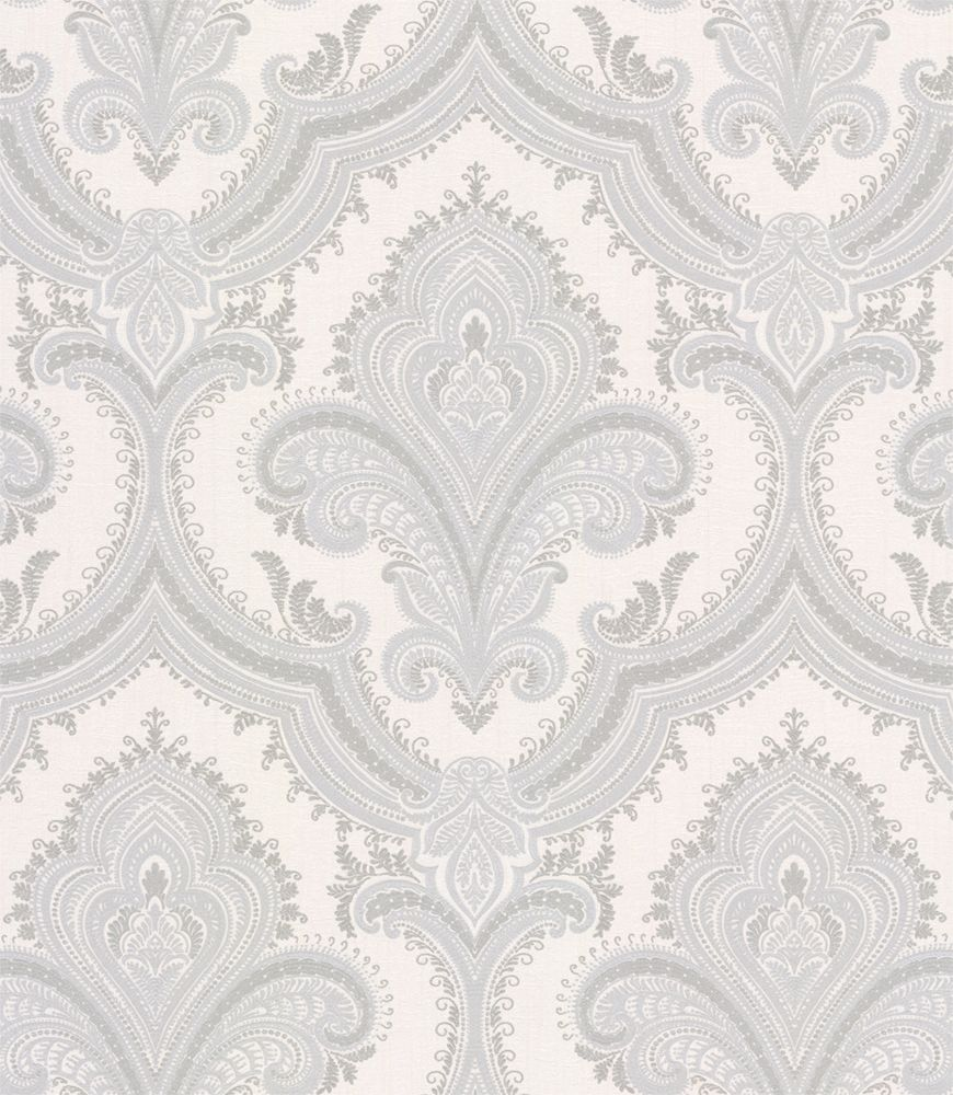 Albany Sassari Damask Opal White Wallpaper main image