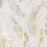 Albany Feathers Grey / Yellow Wallpaper