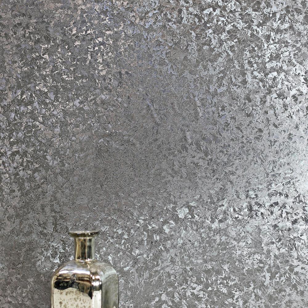 Velvet Crush Foil Wallpaper - Gunmetal - by Arthouse