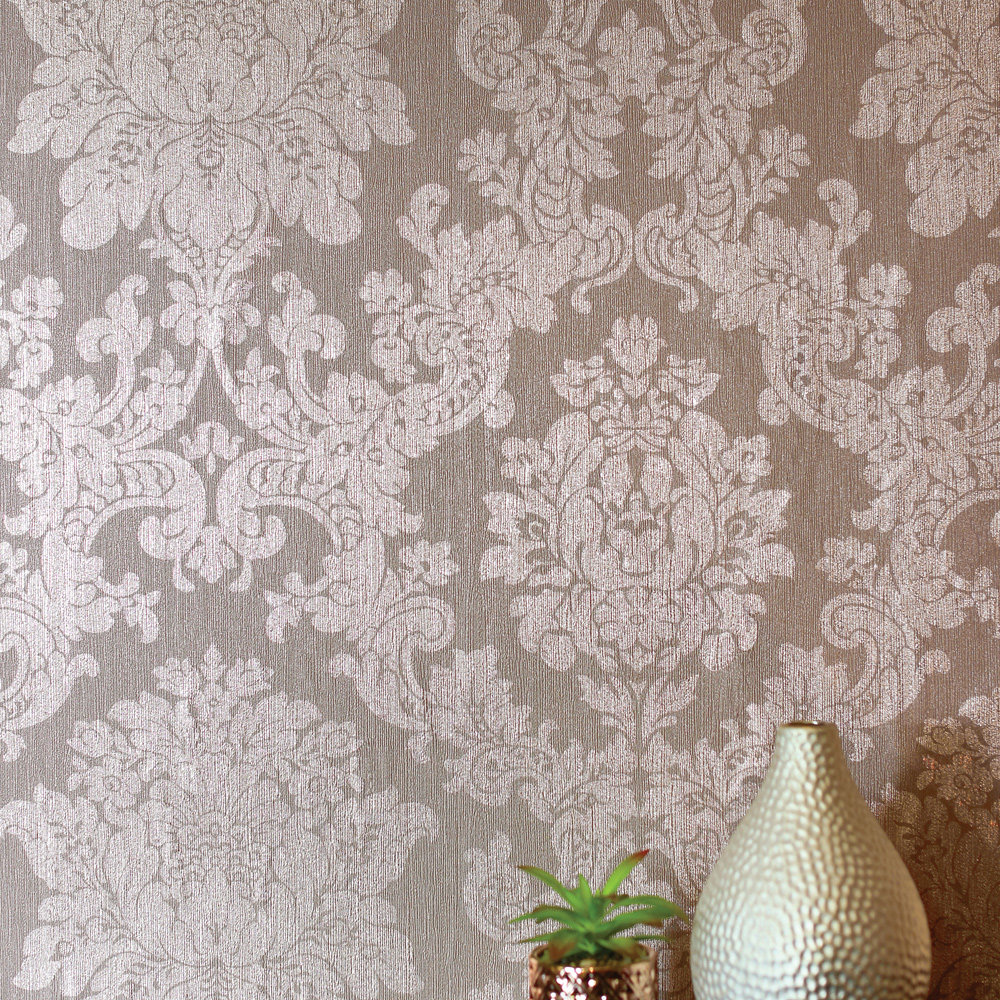Foil Damask Wallpaper - Rose Gold - by Arthouse