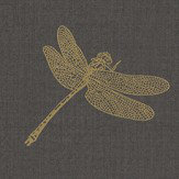 Albany Dragonfly Black / Gold Wallpaper