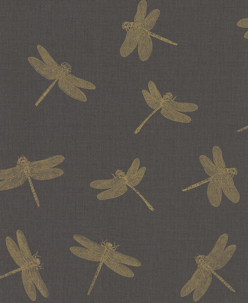 Albany Dragonfly Black / Gold Wallpaper - Product code: 35897-3