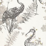 Albany Oriental Bird Grey Wallpaper