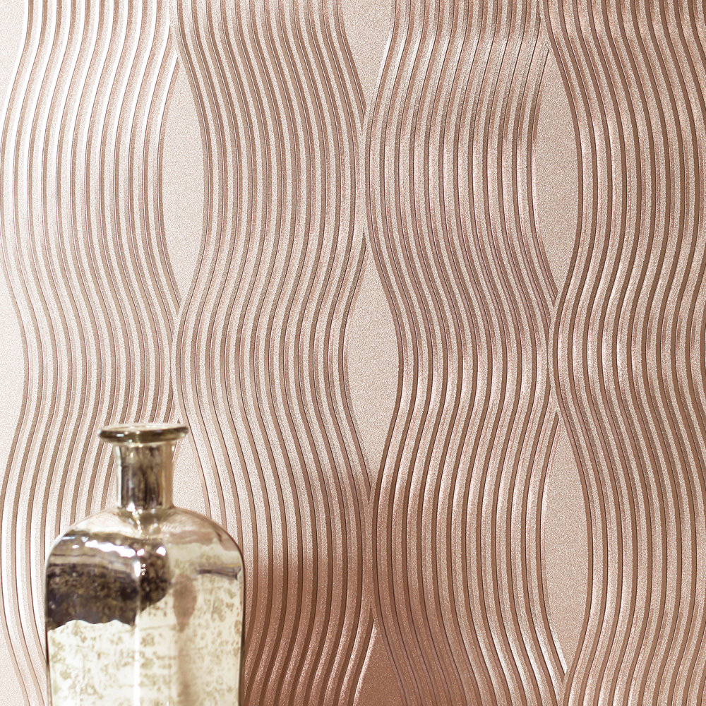Arthouse Foil Wave Rose Gold Wallpaper - Product code: 294500