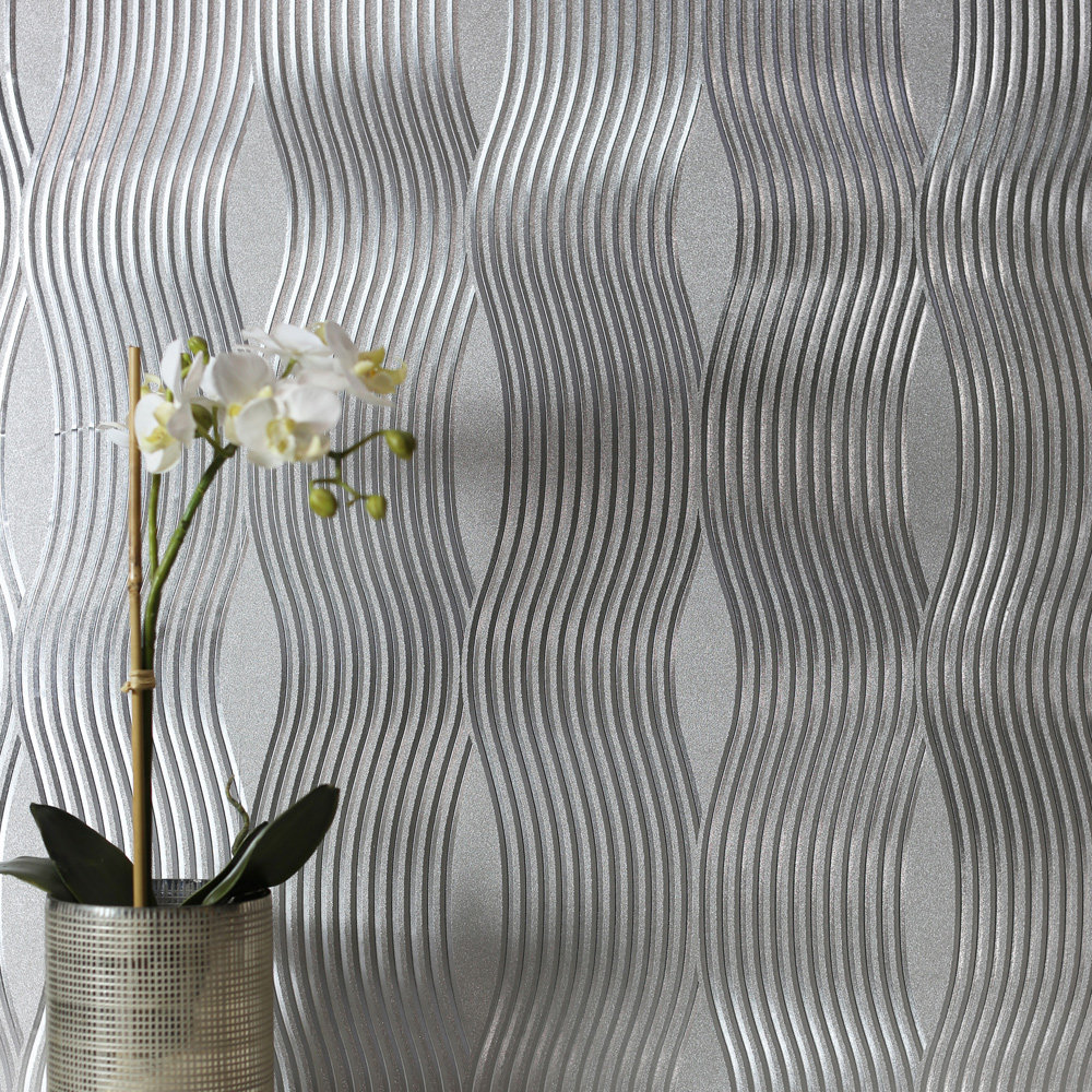 Arthouse Foil Wave Silver Wallpaper - Product code: 294501