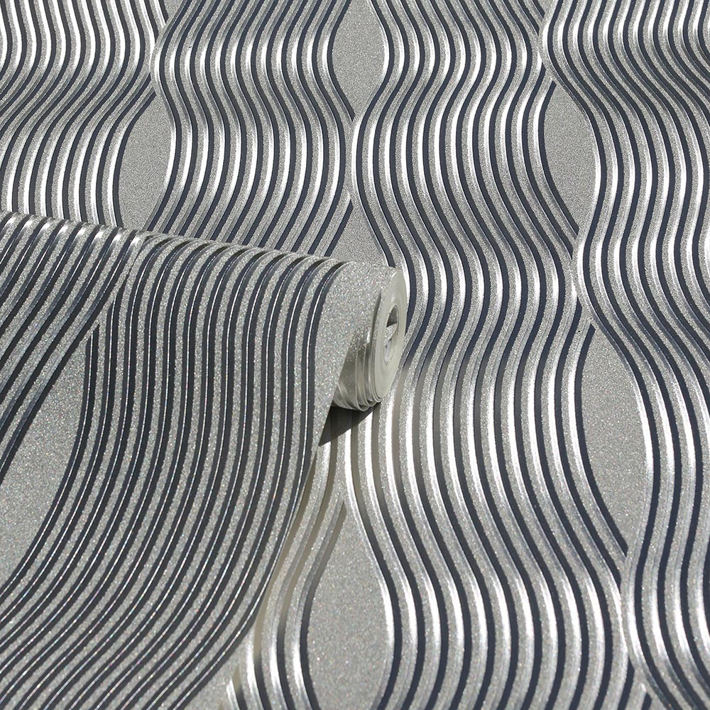 Foil Wave Wallpaper Silver