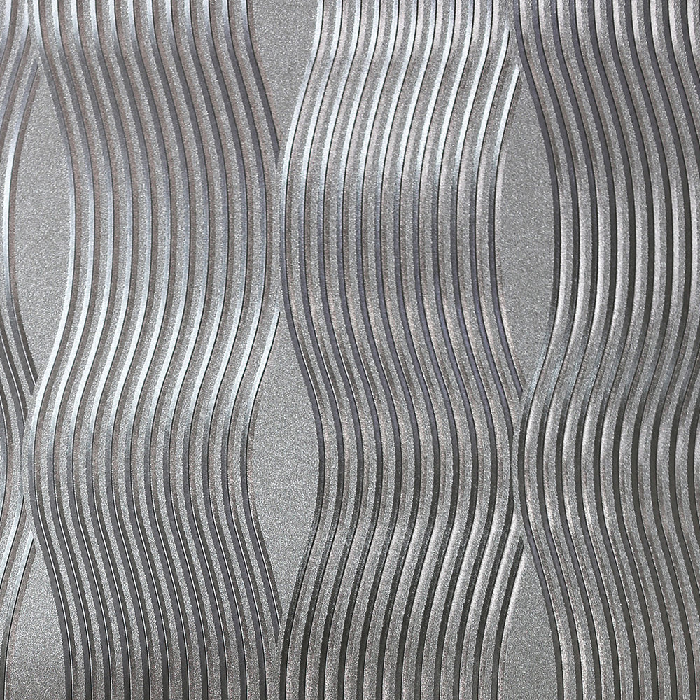 Foil Wave Wallpaper - Silver - by Arthouse