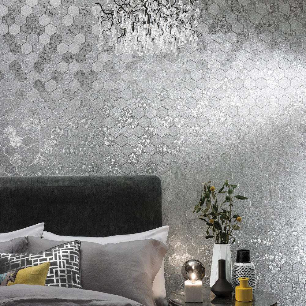 Foil Honeycomb Wallpaper - Silver - by Arthouse