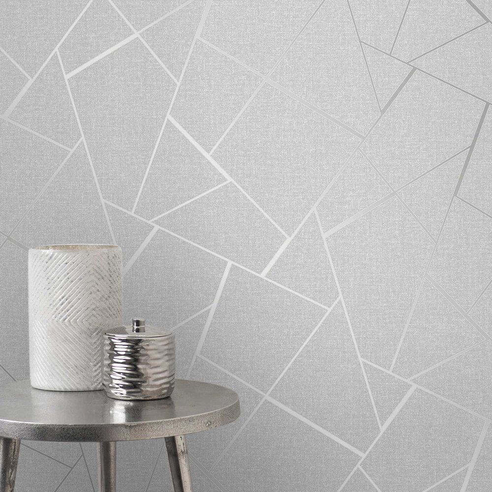 Quartz Wallpaper - Silver Grey - by Albany