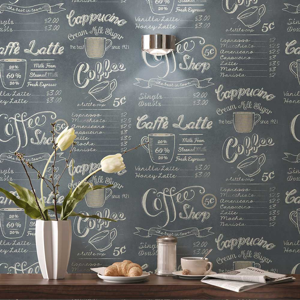 Albany Coffee Shop Grey Wallpaper - Product code: 614947