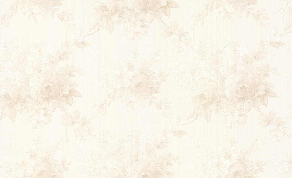Albany Chateau Roses Opal White Wallpaper main image