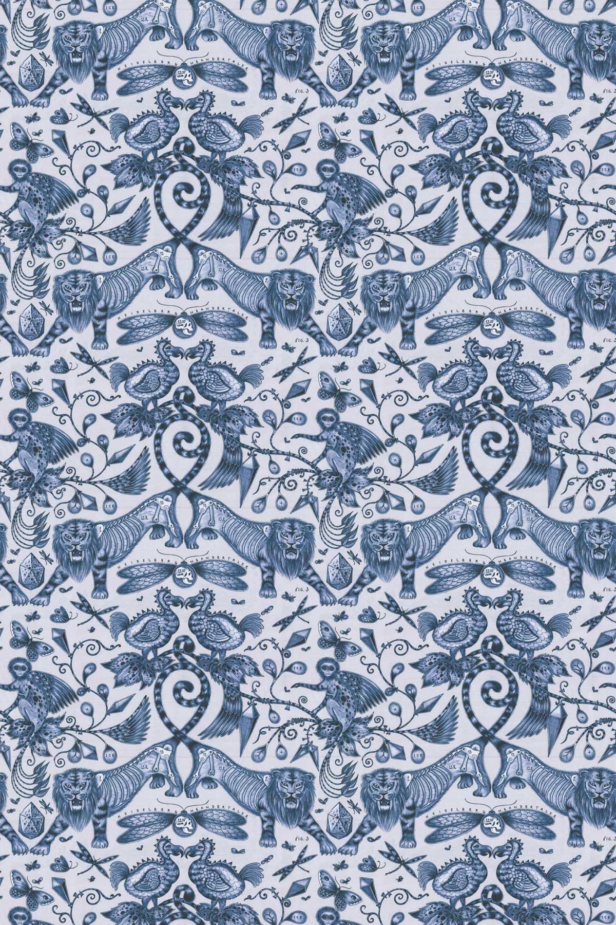 Emma J Shipley Extinct Blue Fabric - Product code: F1109/01