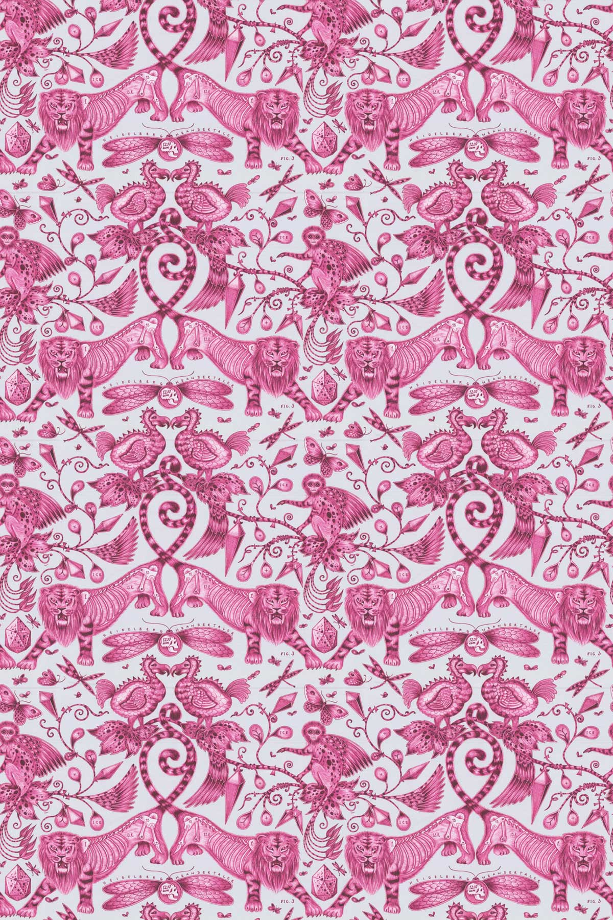 Emma J Shipley Extinct Magenta Fabric - Product code: F1109/03