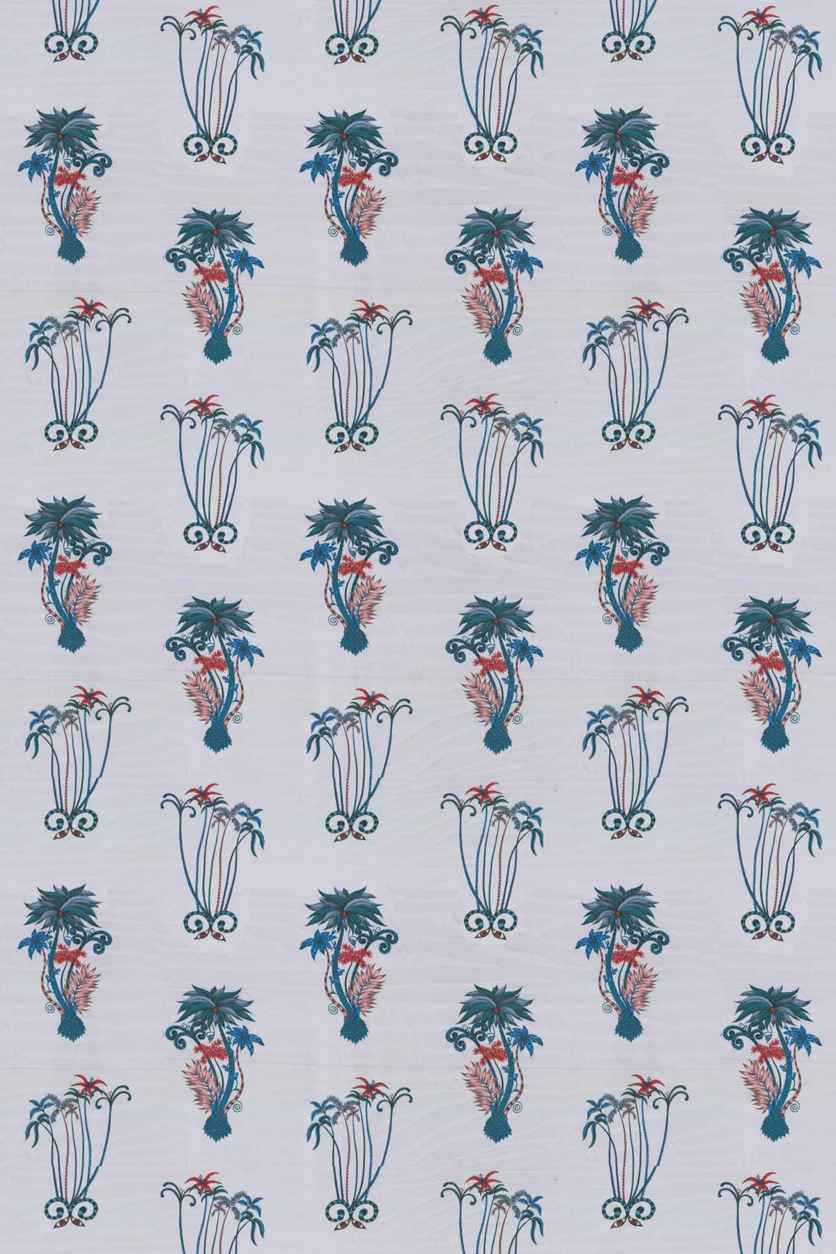 Clarke & Clarke Jungle Palms Blue Fabric - Product code: F1110/01