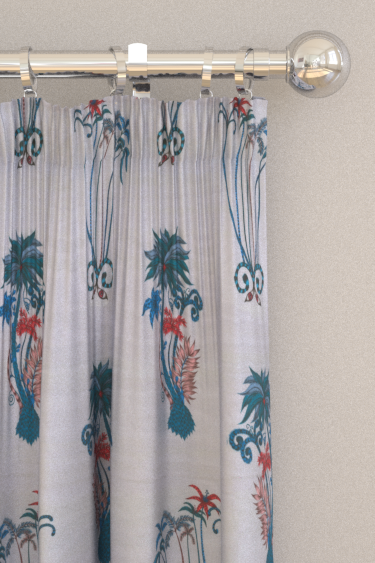 Clarke & Clarke Jungle Palms Blue Curtains - Product code: F1110/01
