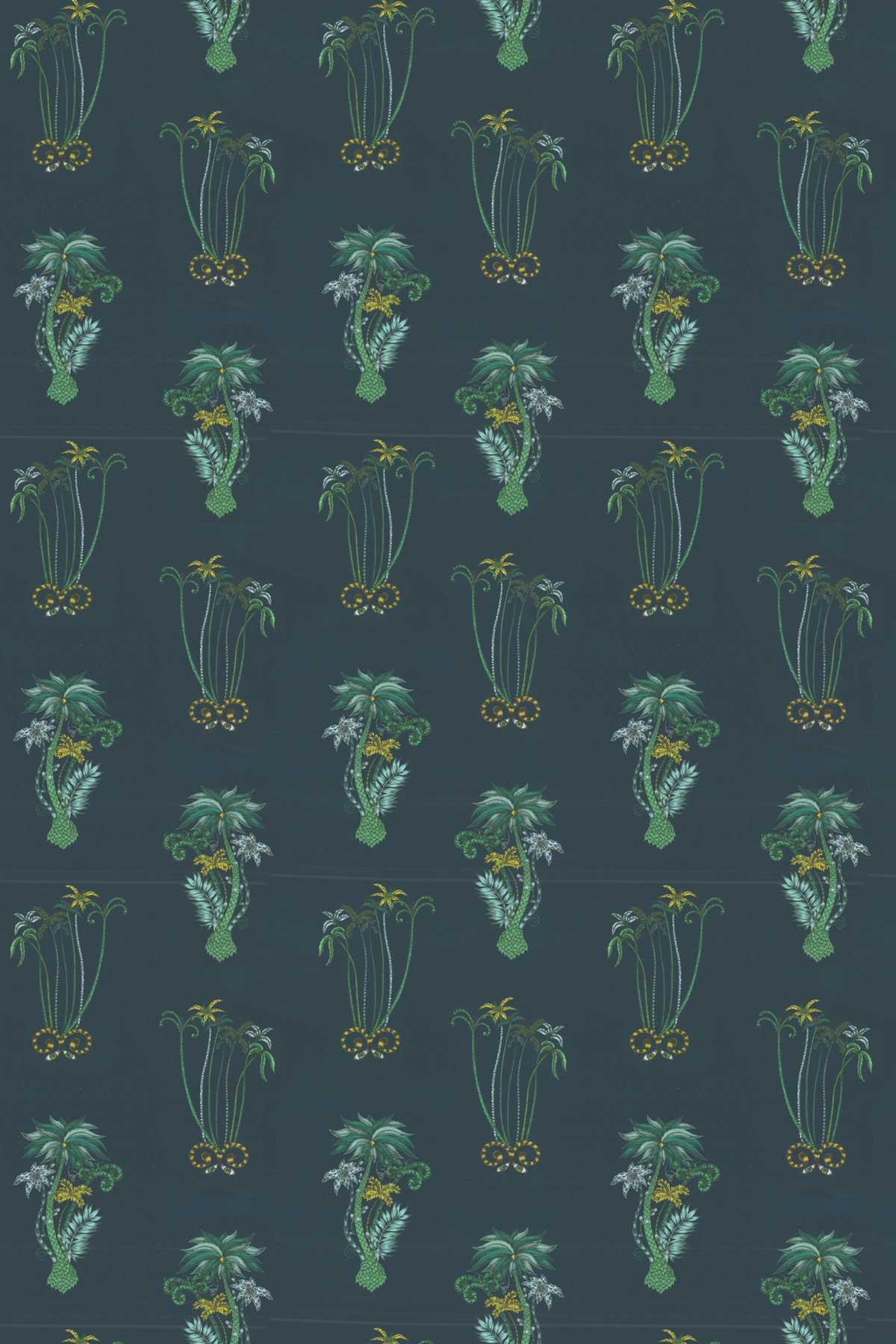 Clarke & Clarke Jungle Palms Navy Fabric main image