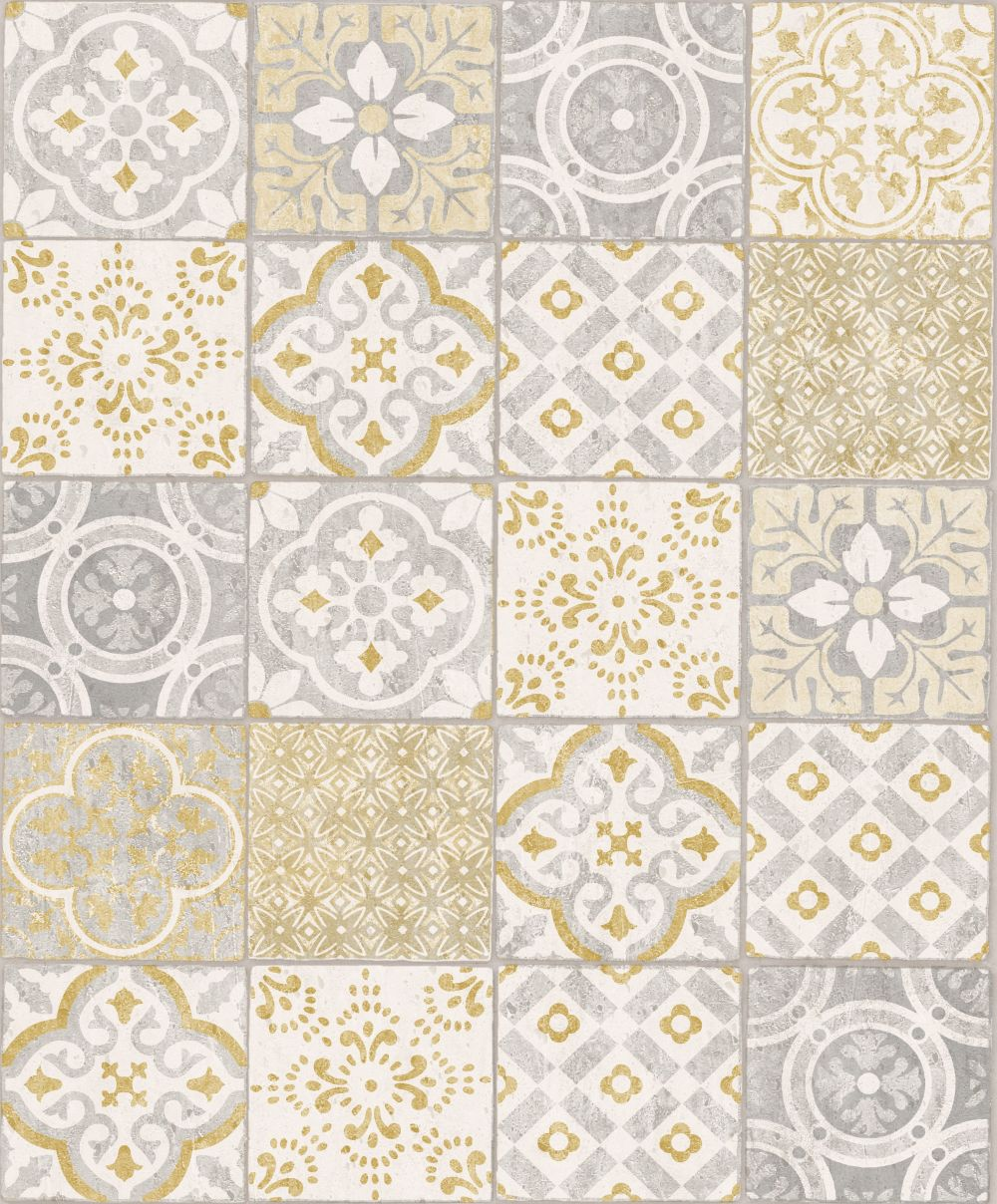 Albany Salinas Tile Yellow / Grey Wallpaper main image