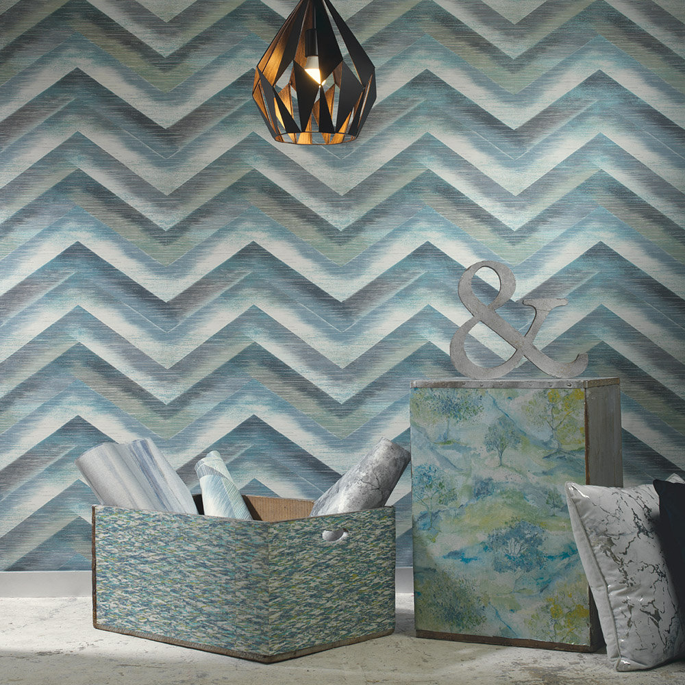 Cascade Wallpaper - Teal - by Albany