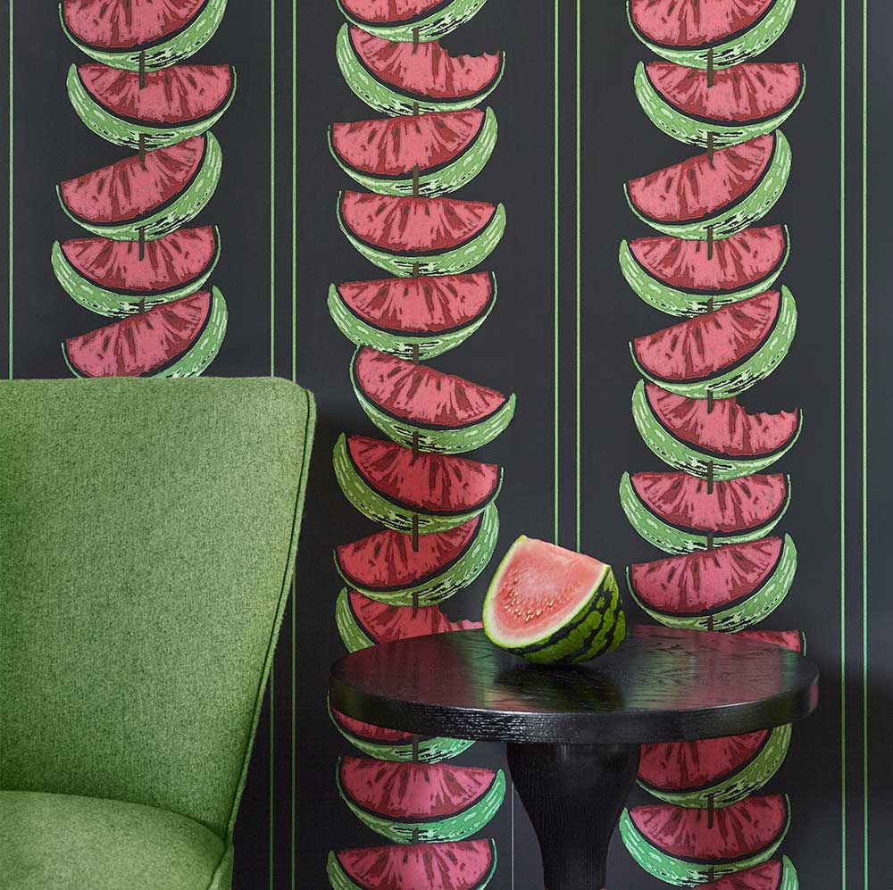 Watermelon Wallpaper - Charcoal - by Barneby Gates