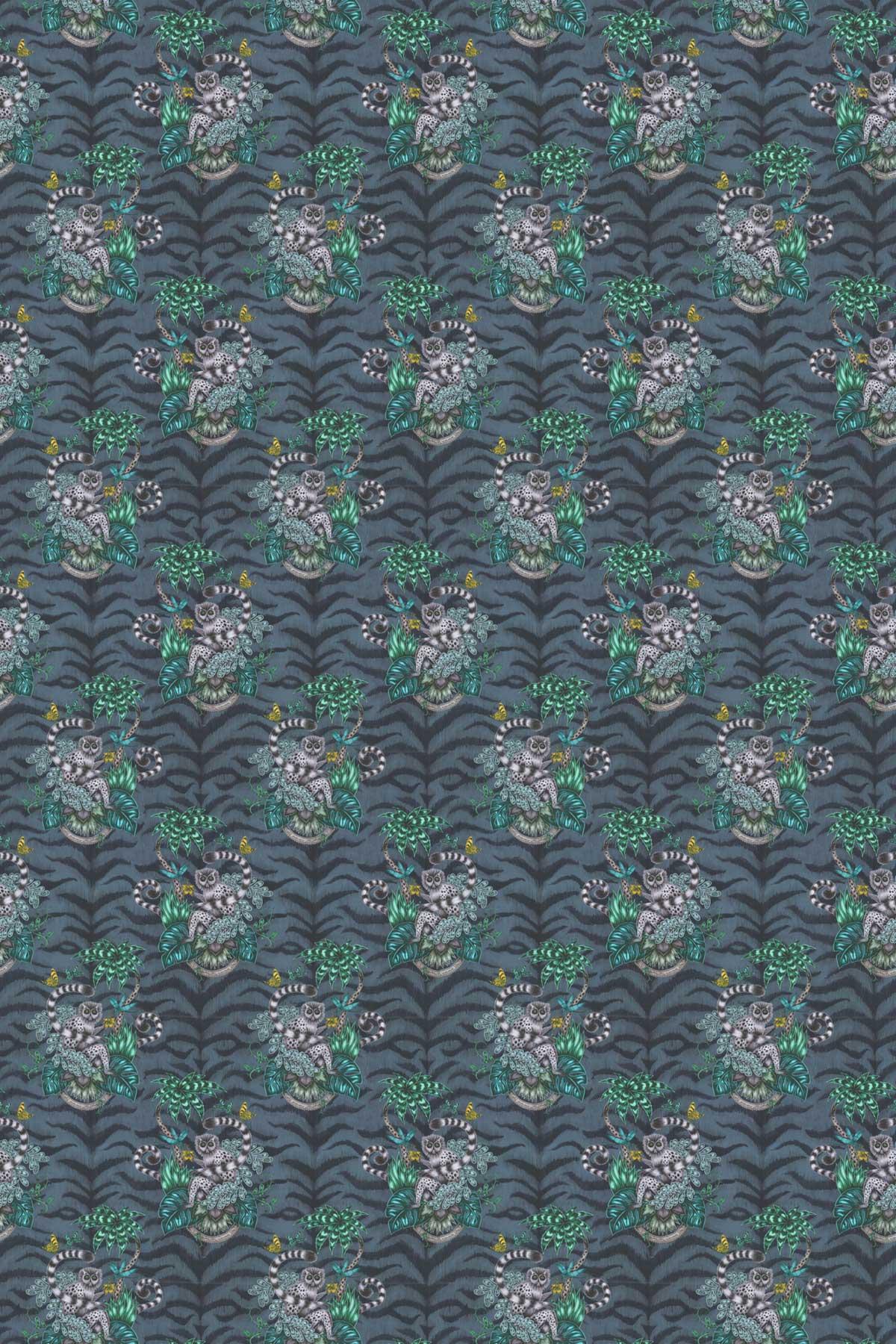 Emma J Shipley Lemur Navy Fabric - Product code: F1112/03