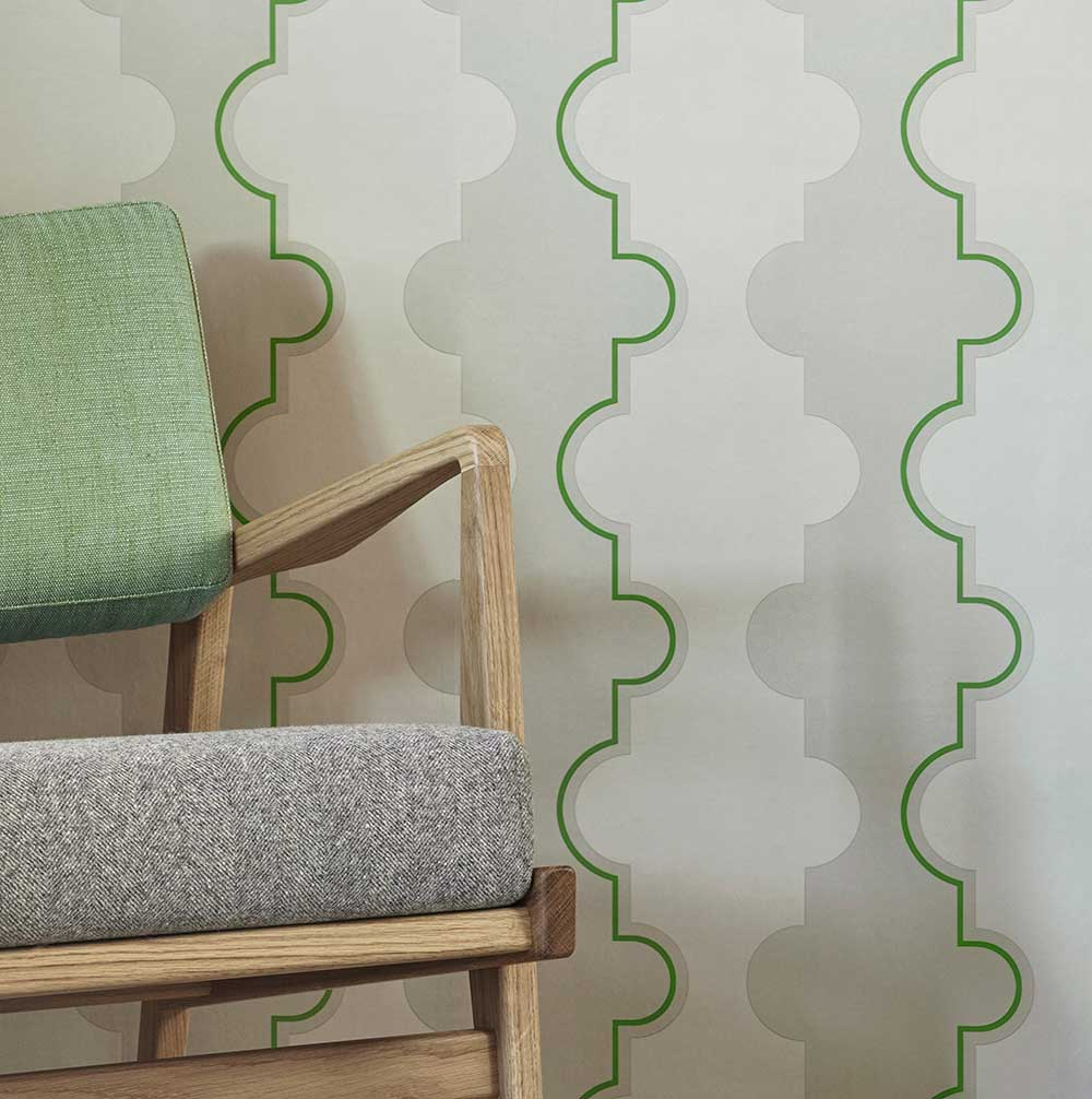 Jigsaw Stripe Wallpaper - Green - by Barneby Gates
