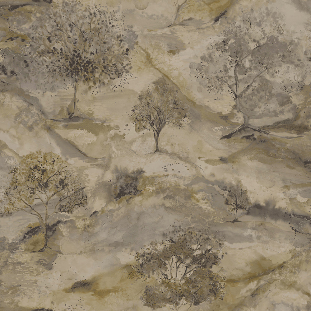 Albany Ascadia Tree Gold/ Charcoal Wallpaper - Product code: 35732