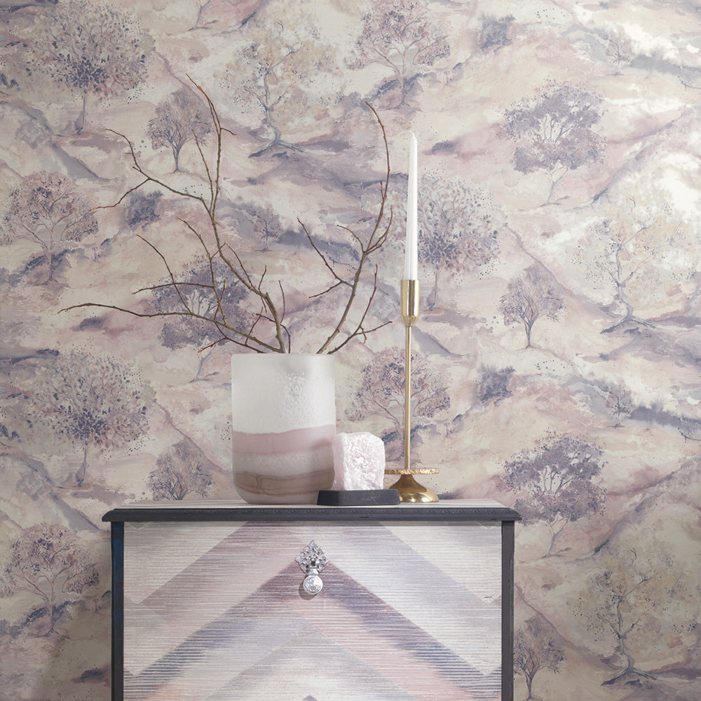 Ascadia Tree Wallpaper - Dusky Pink/ Navy - by Albany