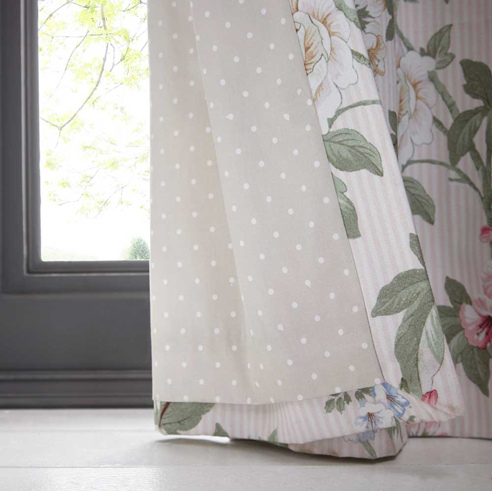Bailey Eyelet Curtains Ready Made Curtains - Blush - by Oasis