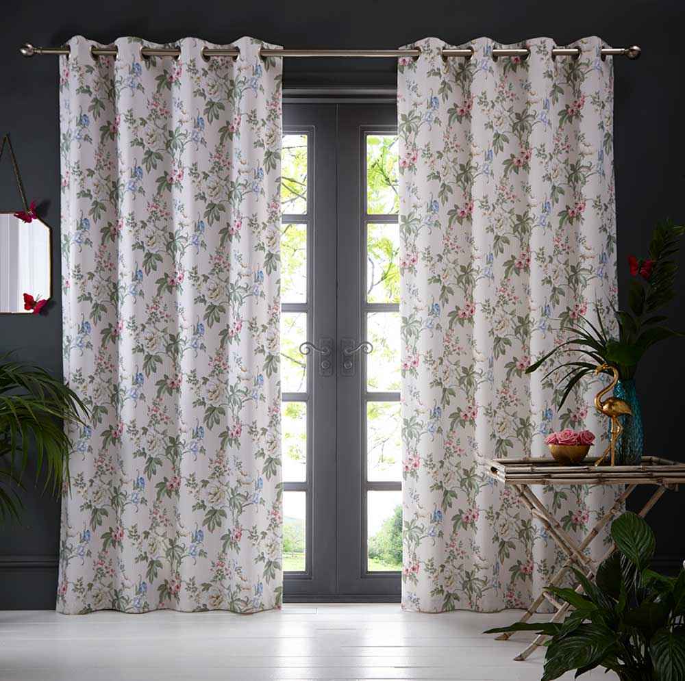 Oasis Bailey Eyelet Curtains Blush Ready Made Curtains - Product code: DA220231040