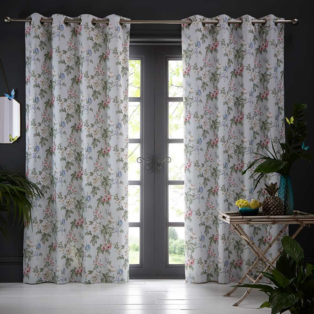 Oasis Bailey Eyelet Curtains Mineral Blue Ready Made Curtains - Product code: DA220231175