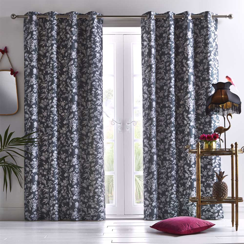 Amelia Eyelet Curtains Ready Made Curtains - Charcoal - by Oasis