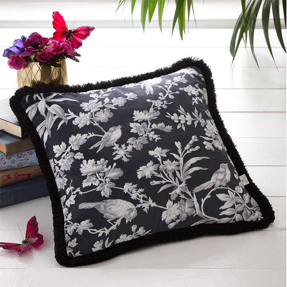 Amelia Cushion - Charcoal - by Oasis