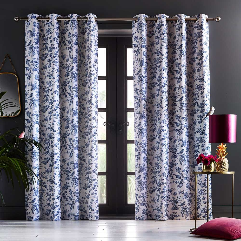 Oasis Amelia Eyelet Curtains Indigo Ready Made Curtains - Product code: DA220231140