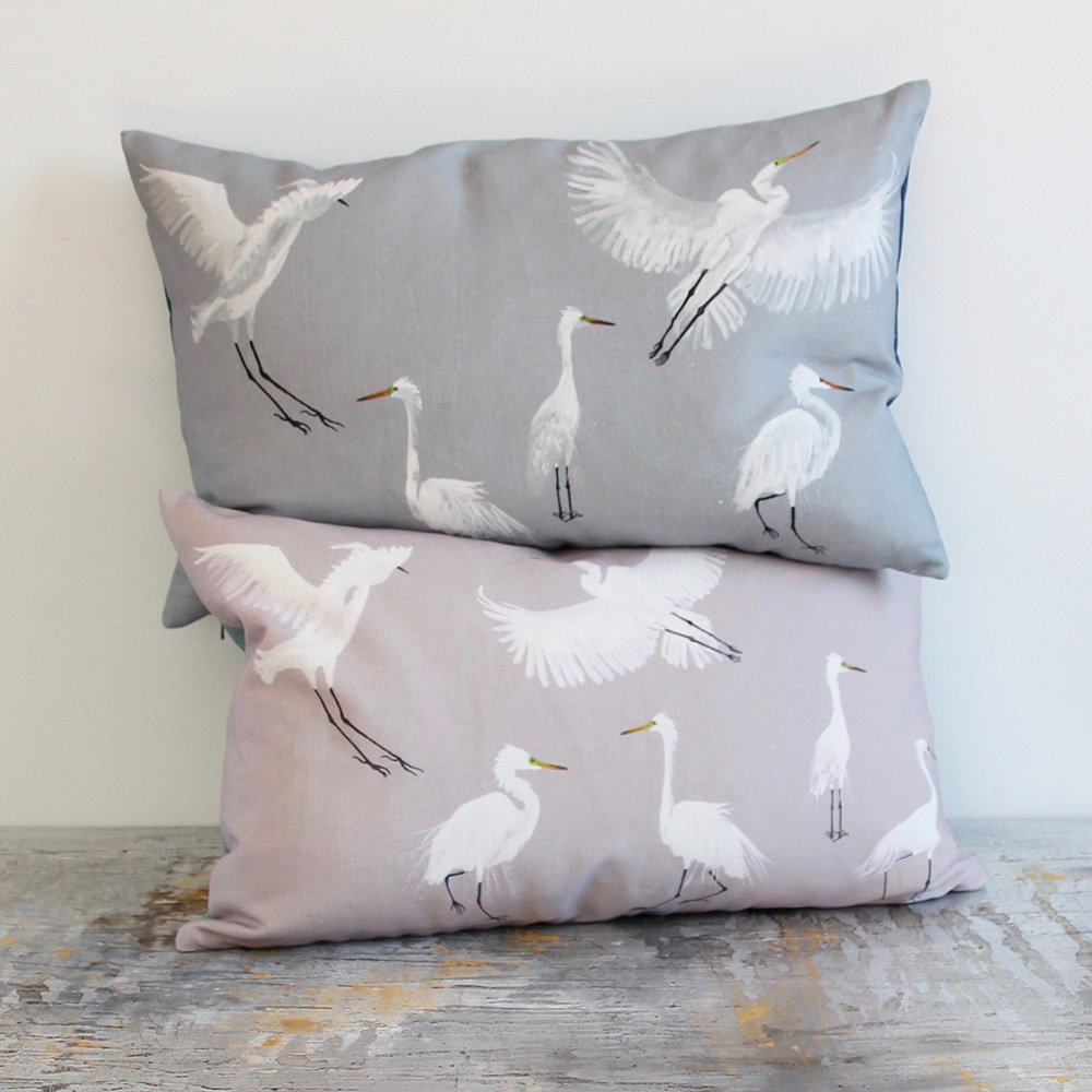 Egrets Cushion - Powder and Rain - by Petronella Hall