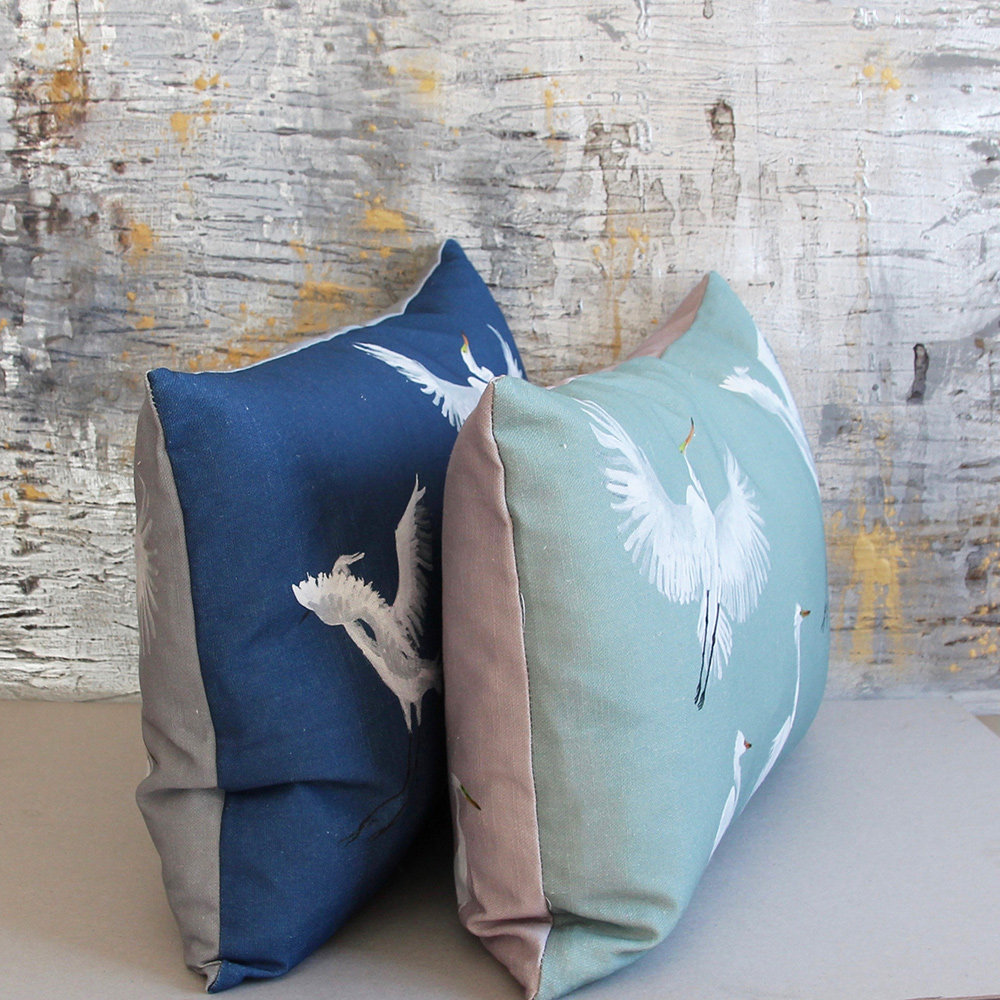 Petronella Hall Egrets Dark Blue Cushion - Product code: E-CTT