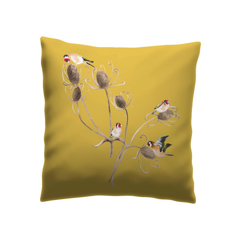 Goldfinch Cushion - Straw - by Petronella Hall