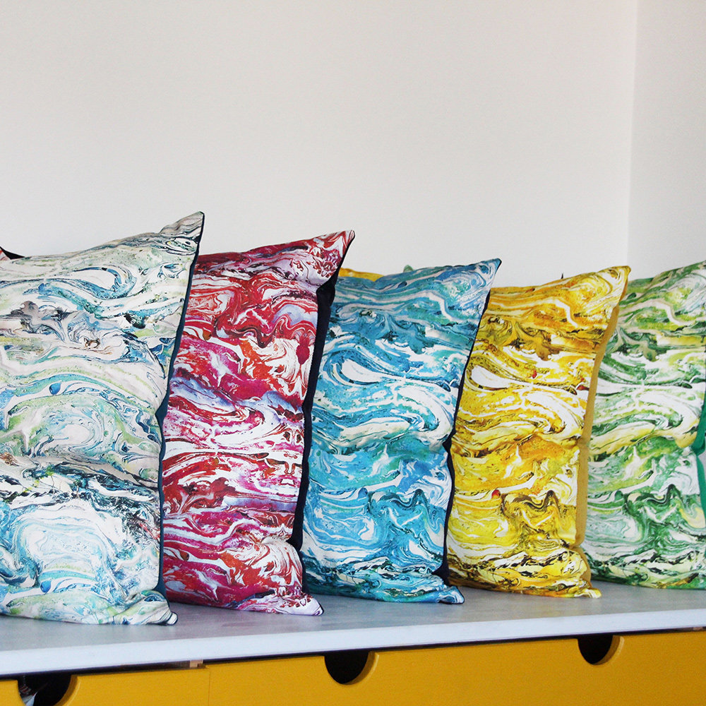 Marbled Cushion - Emerald - by Petronella Hall